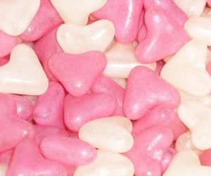 Pink and White Heart Sweets - Sweet Gifts, Candy Cart, Sweet Cart Hire - Rotherham, Sheffield, Doncaster, Barnsley, South Yorkshire